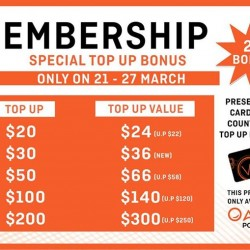 OASIS Cafe: Membership Promotion --- Special Top Up Bonus