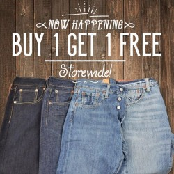 Levi's: Good Friday long weekend promotion --- with our Buy 1 Get 1 Free Storewide Promotion.**Terms & conditions apply. Promotion excludes LVC, LMC, MIJ,