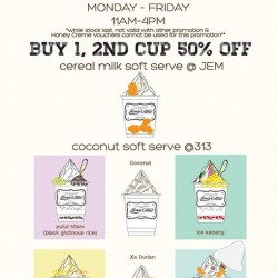 HoneyCreme Singapore: Happy Hour Special Promotion --- Cereal Milk Soft Serve Buy 1, 2nd Cup 50% OFF