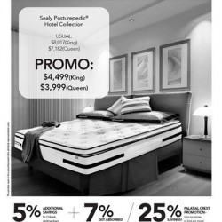 Sealy Singapore: Hotel Collection mattress Promotion -- GST Absorbed + 5% savings for Citibank Cards