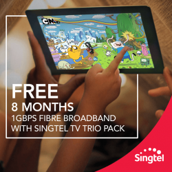 Singtel: IT Show 2016 Special Promotion -- Enjoy complete home entertainment this IT Show! Get FREE 8 months 1Gbps Fibre Broadband with Singtel TV Trio Pack