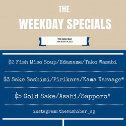 The Sushi Bar Dining: Weekday Deals --- Food and drinks for just $2$3$5