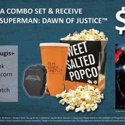 Filmgarde Cineplex: Purchase a combo set and receive BATMAN v SUPERMAN: DAWN OF JUSTICE premium!