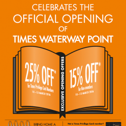 Times bookstores: Times Waterway Point Opening Promotion --- member get 25% OFF