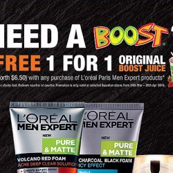 Boost Juice: 1-for-1 with any purchase of L'Oréal Men Expert products