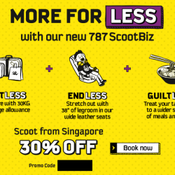 FlyScoot: Airfare Promo Code for 30% off selected ScootBiz seats
