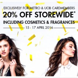Metro: 59th Anniversary Sale - 20% OFF Storewide for Metro and UOB Cardmembers