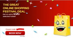 Hotels.com: The Great Online Shopping Festival 2016 Exclusive Offers --- 10% OFF