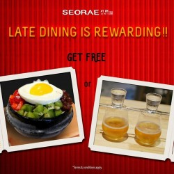 SEORAE: Awesome Dinner Dinner --- 1 free any Patbingsoo or 2 free Soju Bomb