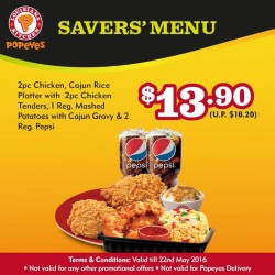 Popeyes Louisiana Kitchen Singapore: Savers' Menu Promotion --- Meal for two at only S$13.90