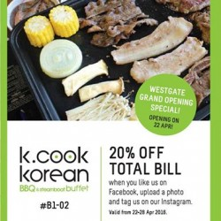 K. Cook Korean BBQ & Steamboat Buffet: 20% OFF Total Bill