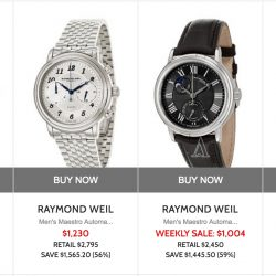 Ashford: Coupon Code for 15% off Raymond Weil watches