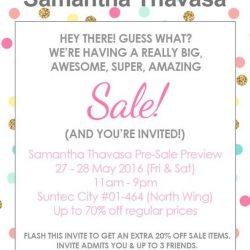 Samantha Thavasa: Pre-Sale Preview Up to 70% OFF Past Season Items for Facebook Fans