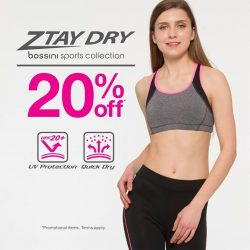 Bossini: Ztay Dry Sports collection at 20% OFF