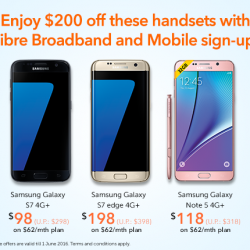 M1: $200 off selected Samsung handsets when you sign-up or re-contract Fibre Broadband and Mobile plan