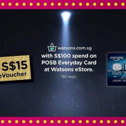 Watsons: FREE S$15 Watsons eVoucher with S$100 spend at Watsons eStore with your POSB Everyday Card