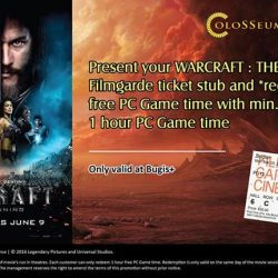 Filmgarde Cineplex: Colosseum Promotions - $2 off large popcorn combo with every purchase of WARCRAFT: THE BEGINNING movie ticket