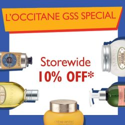 L'Occitane: 10% OFF* store-wide with a min purchase of $120.