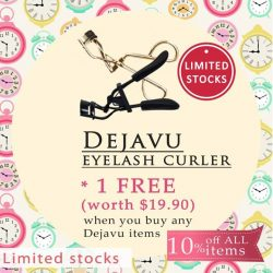 Pink Beauty: 10% off ALL Dejavu products + FREE Dejavu eyelash curler (worth $19.90) for any purchase