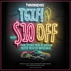 Common Thread: Grab your second pair of Havaianas at $10 off now