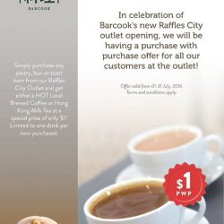 Barcook: Enjoy the $1 PwP offer for hot local brewed coffee or Hong Kong Milk Tea with every item purchased