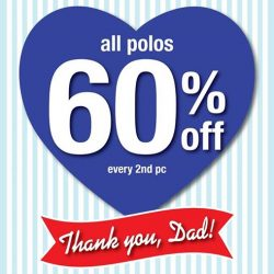 Giordano: Father's Day Promotion - 60% off every 2nd pc for all polos