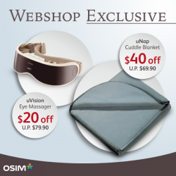 OSIM: $40 off uNap Cuddle Blanket & $20 off uVision