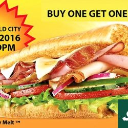 "Subway: Buy 1 Get 1 Free 6"" Sub at Great World City on 15 July 2016"