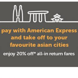 Tigerair: Coupon Code for 20% OFF All-In Return Fares with American Express Card