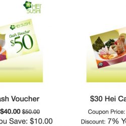 Hei Sushi: Save up to $10 with Cash Vouchers