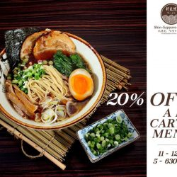 Shin-Sapporo Ramen: Enjoy 20% OFF A la Carte Menu on Weekdays