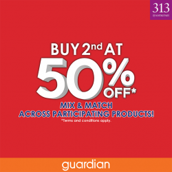Guardian: Buy 2nd at 50% OFF Promotion