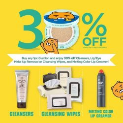 The Face Shop: Buy any 1pc Cushion & Enjoy 30% OFF Cleansers, Lip/Eye Makeup Removal, Cleansing Wipes & Melting ColourLip Creamer