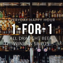 Balaclava: Happy Hour 1-for-1 All house pour wines & spirits and Draught Beer