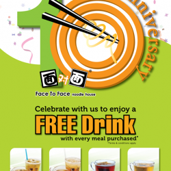 Face to Face Noodle House: Free Drink with any every meal purchased