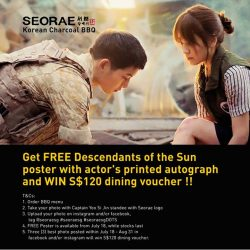 SEORAE: FREE Descendants of the Sun poster with actors' printed autograph