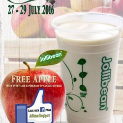 Jollibean: Get a free apple with every like on FB and a purchase of classic soy milk