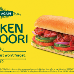 Subway: Chicken Tandoori Sub Back for A Limited Time Only