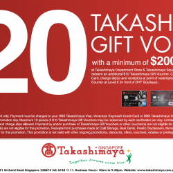 Takashimaya: Redeem $20 Taka Gift Voucher with min. spend of $200 for DBS Takashimaya Cardholders