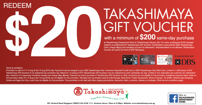 Takashimaya redeem 20 taka gift voucher with min spend of 200 exclusively for dbs takashimaya credit and debit cardholders shop and redeem 20 takashimaya gift voucher with a minimum of 200 same day purchase for 2 reheart Images