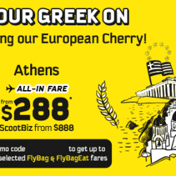 FlyScoot: New Route to Athens from $288 All-in One Way + Coupon Code for 10% OFF