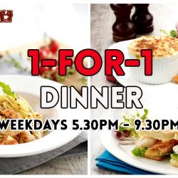 O' Coffee Club: 1 For 1 Dinner Meal on Weekdays