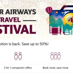 Qatar Airways: Travel Festival 2016 Up to 50% OFF, 2 for 1 Offers, Kids Fly FREE & More