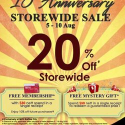 MPH: 15th Anniversary Storewide Sale 20% off + Free Membership at MPH Raffles City