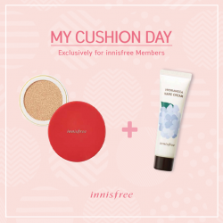 Innisfree: My Cushion Day - Receive 1pc of Jeju Perfumed Hand Cream with purchase of Cushion refill and case