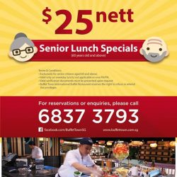 Buffet Town: Seniors who are aged 60 and above enjoy weekday lunch buffet for only $25 NETT