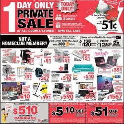 Courts: Home Club 1 Day Only Private Sale
