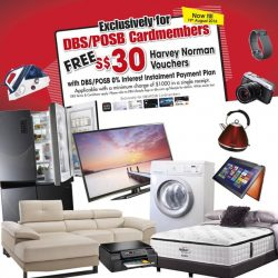 Harvey Norman: Pay with DBS/POSB Credit Cards on 0% Instalment Plan & get $30 Harvey Norman Vouchers