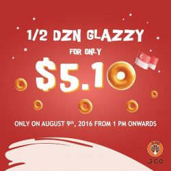 J.Co Donuts & Coffee: National Day Promotion - $5.10 for Half Dozen Glazzy Donuts for the First 200 Customers Wearing Red