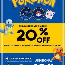 Young Hearts: 30% off on all regular-priced merchandise when you post a screenshot of your best Pokemon Go catch